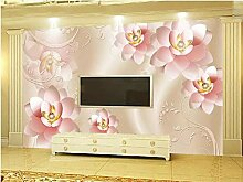 Fototapete 3D Effekt Rosa Romantische Blumenwand