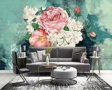Fototapete 3D Effekt Rosa Weiße Rosenblume Frisch