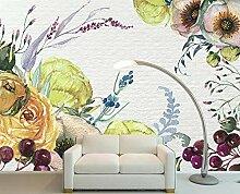 Fototapete 3D Effekt Rosen Handgemalten Tulpen