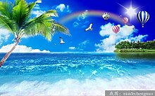 Fototapete 3D Effekt Seestück Mit Kokospalmen