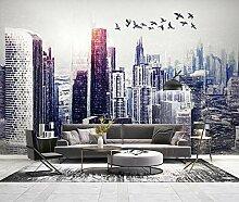 Fototapete 3D Effekt Stadtgebäude Sonnenaufgang