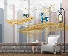 Fototapete 3D Effekt Tapete Einfache goldene Feder
