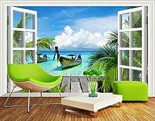 Fototapete 3D Effekt Tapete Fenster Mit Meerblick