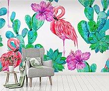 Fototapete 3D Effekt Tapete Flamingo-Kaktus