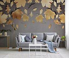 Fototapete 3D Effekt Tapete Goldene Blätter