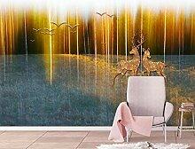 Fototapete 3D Effekt Tapete Goldene Waldvogelelche