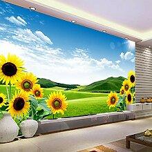 Fototapete 3D Effekt Tapete Landschaft Sonnenblume
