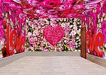 Fototapete 3D Effekt Tapete Romantische Rose Thema