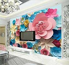 Fototapete 3D Effekt Tapete Rosen-Papierblumenwand