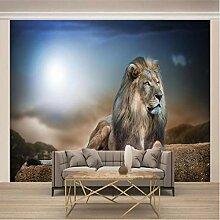 Fototapete 3D Effekt Tapete Tiergrauer Löwe