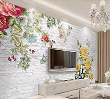Fototapete 3D Effekt Tapete Vintage Rose Mauer