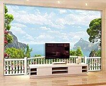 Fototapete 3D Effekt Tapeten Balkon Mit Meerblick