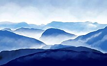 Fototapete 3D Effekt Tapeten Berge Mit Blauer