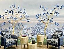 Fototapete 3D Effekt Tapeten Blaues Blumenbaummeer