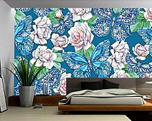 Fototapete 3D Effekt Tapeten Blumenblauer