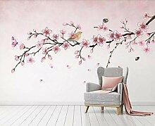 Fototapete 3D Effekt Tapeten Rosa Blumenvogelbiene