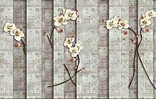 Fototapete 3D Effekt Tapeten Vintage Blumenmauer