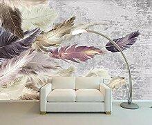 Fototapete 3D Effekt Tapeten Zement Textur Feder