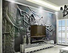 Fototapete 3D Effekt Timber Wolf Relief Moderne