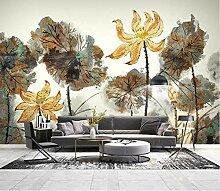 Fototapete 3D Effekt Tinte Lotus Goldene