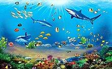 Fototapete 3d Effekt Unterwasser-Welthai-Delphin