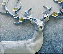 Fototapete 3D Effekt Vintage Hirsch Blumen Blau
