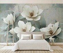Fototapete 3D Effekt Vintage Weiße Blumen