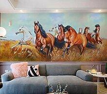 Fototapete 3D Effekt Vlies Tapete Grasfeld Pferd