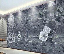 Fototapete 3D Effekt Vlies Tapete Rose Mauer