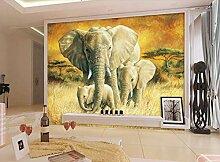 Fototapete 3D Effekt Vliestapete Elefanten Im