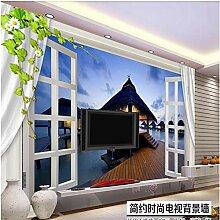 Fototapete 3D Effekt Vliestapete Fenster Blumen
