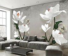 Fototapete 3D Effekt VliesVintage Weiße Blumen