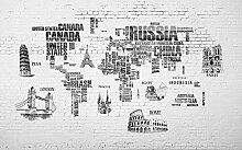 Fototapete 3D Effekt Weltkarte, Hand Gezeichneter