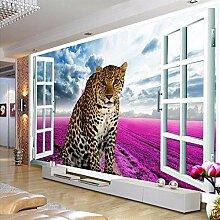 Fototapete 3D Fenster Leopard Lavendel Wand Tapete
