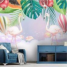 Fototapete 3D Flamingo, Blume, Heißluftballon