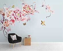 Fototapete 3D Foto Wandbild Nordische Blumen Vogel