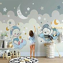 Fototapete 3D Für Cartoon Little Bear Mond Sterne