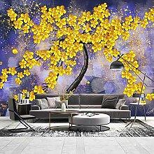 Fototapete 3D Golden Tree Abstract Ölgemälde