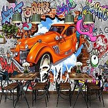 Fototapete 3D Graffiti 3D Backsteinmauer Auto Bar