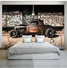 Fototapete 3D Graffiti Nostalgie Altes Auto