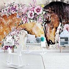 Fototapete 3D handgemalte kreative Blumen pferde