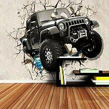 Fototapete 3D kaputtes Auto Wand Tapete Wohnzimmer