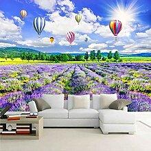 Fototapete 3D Lavendel Blumen Meer Heißluftballon