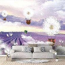 Fototapete 3D Lavendel Heißluftballon Wand Tapete