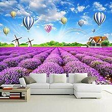 Fototapete 3D Lavendel Regenbogen Heißluftballon