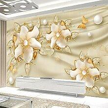 Fototapete 3D Luxus Goldene Schmuck Blumen Silk