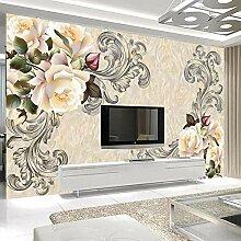 Fototapete 3D Marmor Blumenmuster Wohnzimmer TV