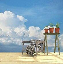 Fototapete 3D Mauer Blauer Himmel Mit Wolken