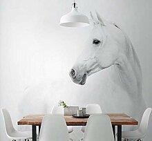 Fototapete 3D Mauer Weißes Pferd Tapeten Retro