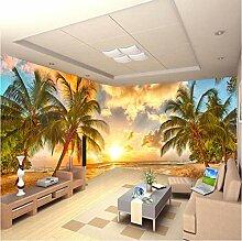 Fototapete 3D Meer, Kokospalme, Sonnenuntergang,